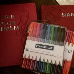 These are the notebooks and pens I got for me and Heather (Ladies Who Write, yours are coming!).