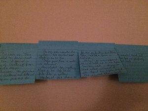 Story ideas are almost always written on post-its and then stuck to my formal living rooms wall.