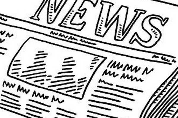 "line drawing of a folded newspaper entitled ""News"""
