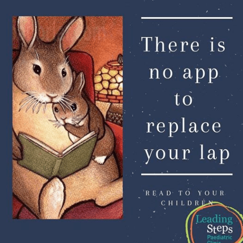 Meme of rabbit parent reading to young rabbit, lap better than app