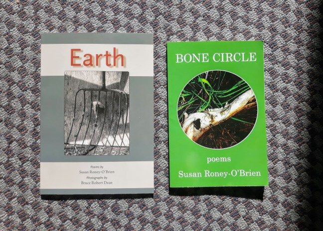 two covers of poetry collection books by Susan Roney-O'Brien