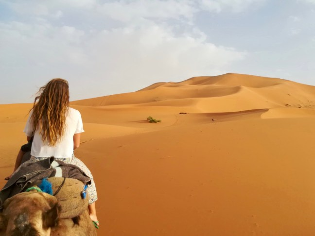 girl with long hair from back riding camel in desert