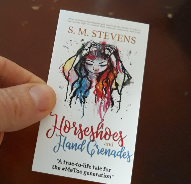 business card of book cover for horseshoes and hand grenades