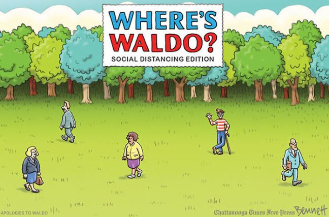 where's waldo social distancing editoin by clay bennett times free press