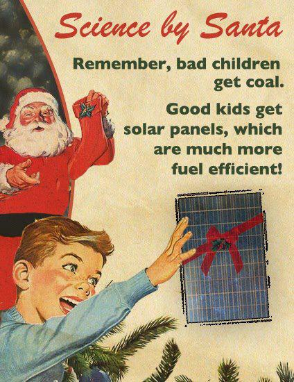 meme of santa giving coal to bad kids, old fashioned look, solar panel with bow