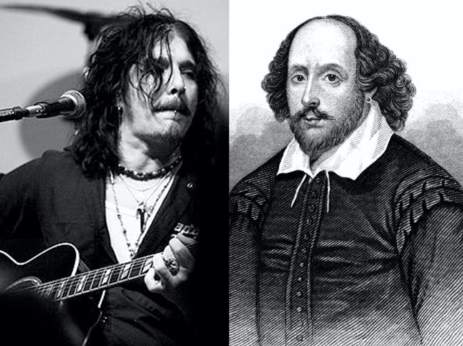 black and white montage of william shakespeare and motley crue singer john corabi