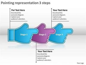 3 STAGES POINTING ARROWS LINEAR PROCESS FLOW CHARTSPowerPoint Diagram