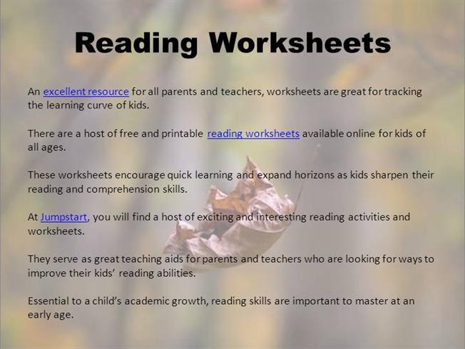 Reading Worksheets  authorSTREAM