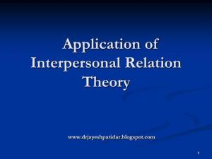Application of Interpersonal Theory |authorSTREAM