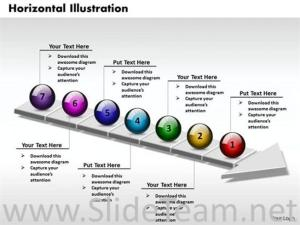 7 Staged Linear Arrow Process Flow DiagramPowerPoint Diagram