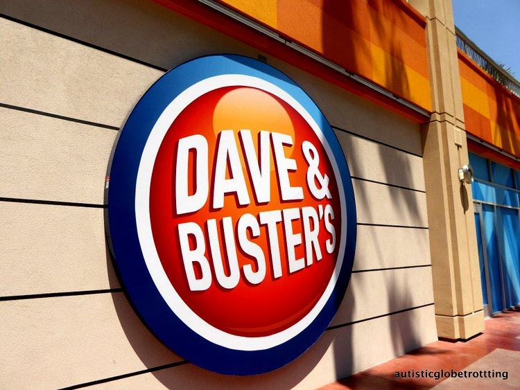 Stuck at LAX? Take the family to Dave and Buster's! sign