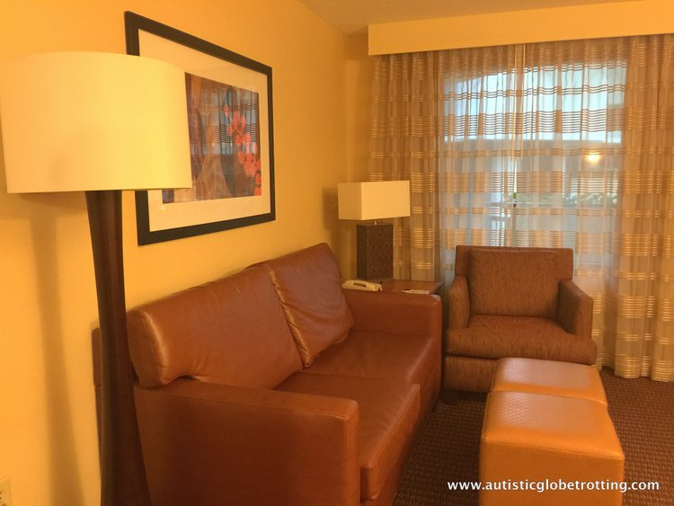 Family Stay at Embassy Suites Anaheim South Hotel sofa