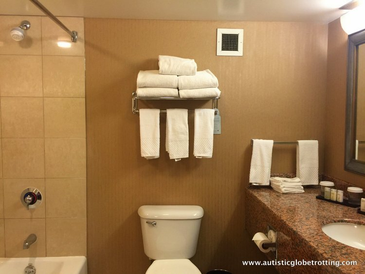 Family Stay at Embassy Suites Anaheim South Hotel bathroom