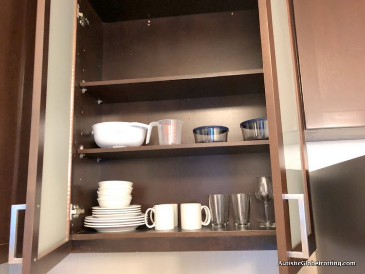 Residence Inn San Jose Cupertino caters to Autism Families dishes in cabinets