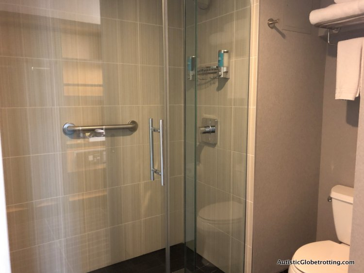 Family Fun Stay at the Aloft San Francisco Airport the shower enclosure