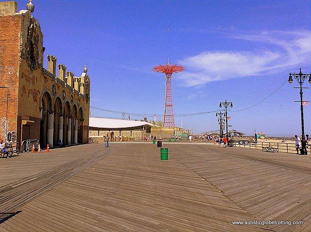 Family Fun on New York's Coney Island distant