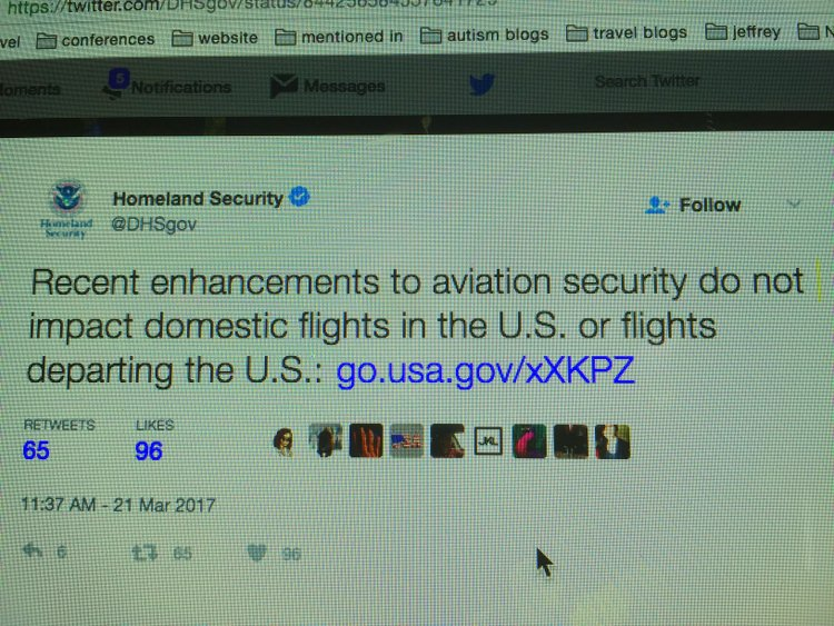 homeland tweet How the US Electronic Ban affects Traveling with Autism