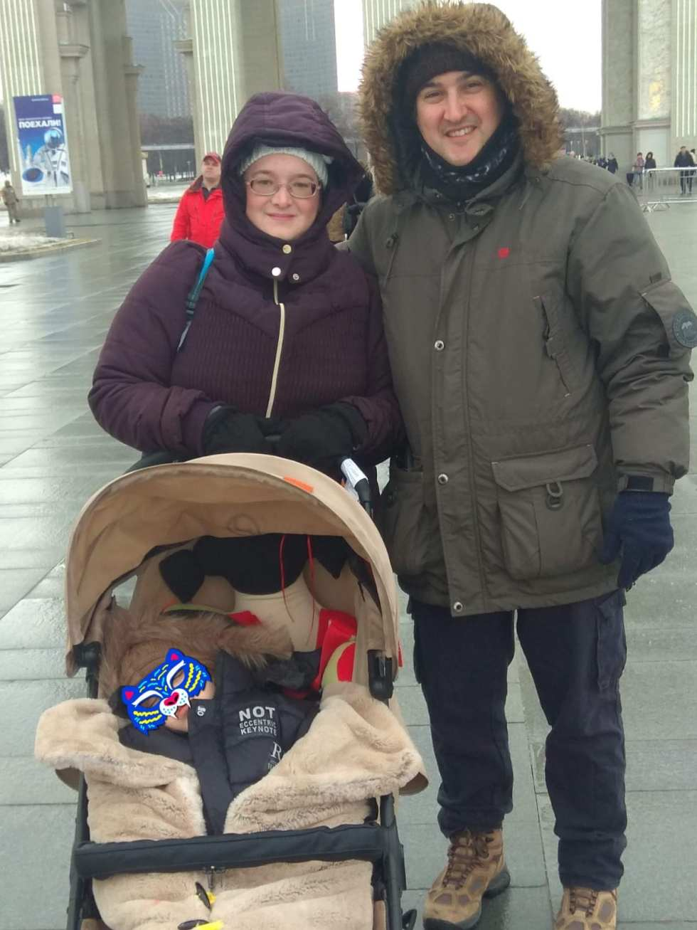 Tightly wrapped for a cold March walk in Moscow before stem cell treatment for autism