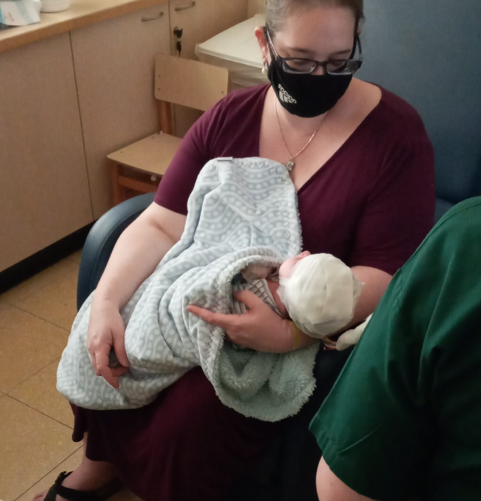 the baby during his first EEG at two weeks