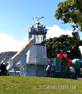 Lighthouse playground waterfront Wellington NZ - www.autismfamilytravel.com