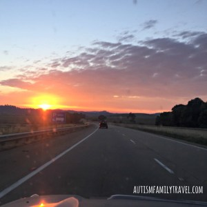 Road trip sunrise on Hume Hwy - www.autismfamilytravel.com