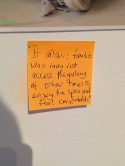 Post-it note feedback from Manchester autism sessions