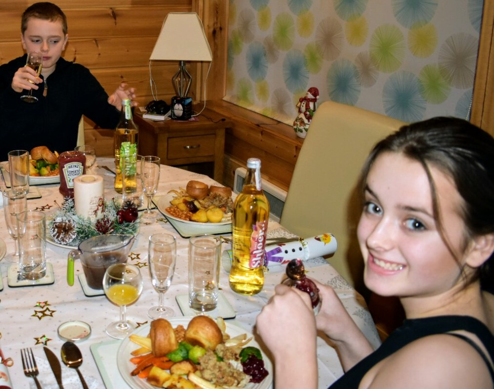 Two children sat at the table eating Christmas dinner and smiling