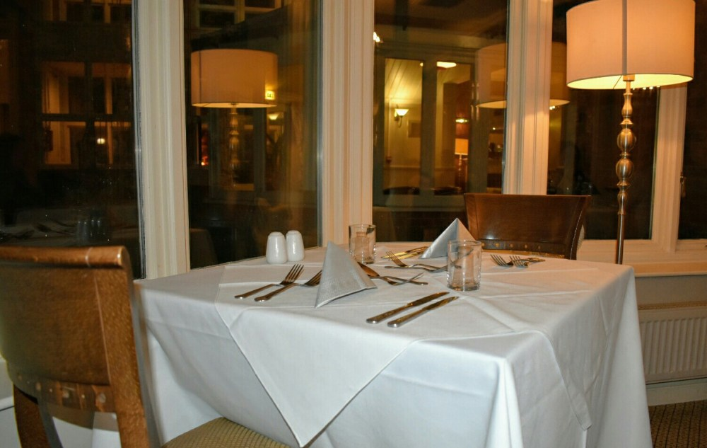 A table laid for dinner