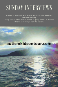 a picture of the sun over a lake and the text: Sunday Interviews: A series of interviews with Autistic adults, to raise awareness and understanding. Giving Autistic adults a voice as well as giving parents of autistic children some insight from the answers.