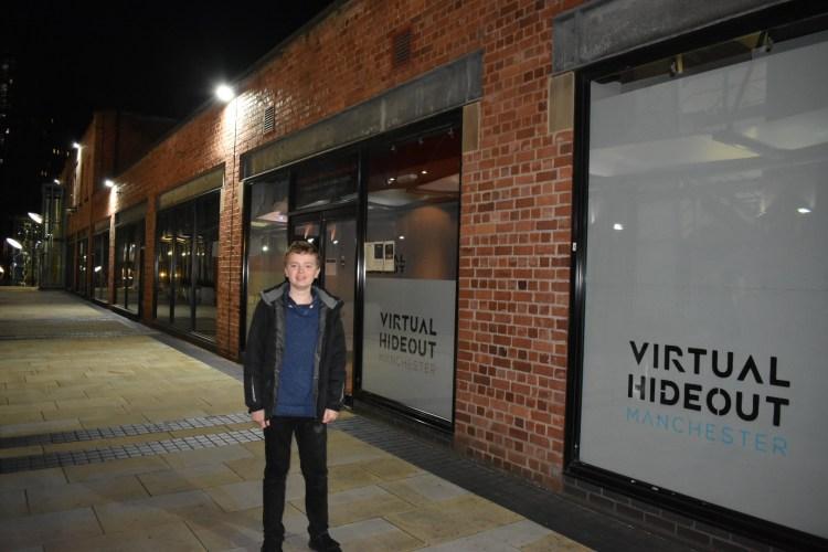 A boy stood outside Virtual hideout manchester