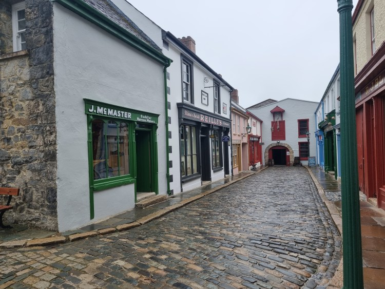 Old Irish street with shops that you can go in from the Ulster American Folk museum in northern ireland