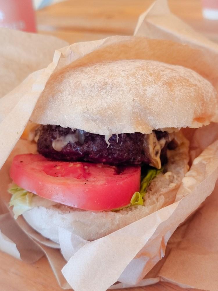 A juicy Dexter burger at fodder cafe, finnebrogue woods