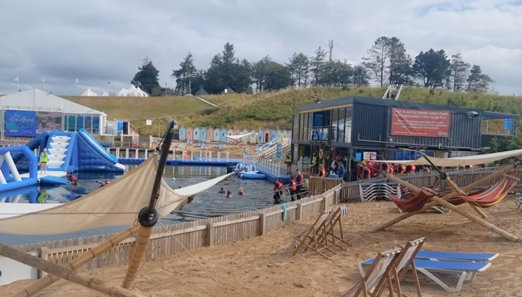 The briefing building at Lets go Hydro inflatable water park in Northern Ireland. Giant inflatables on the lake to play on.
