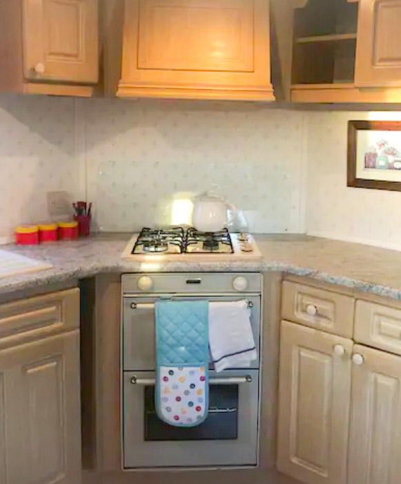 Kitchen in the Robins nest air bnb caravan in Ballyhornan, Northern Ireland