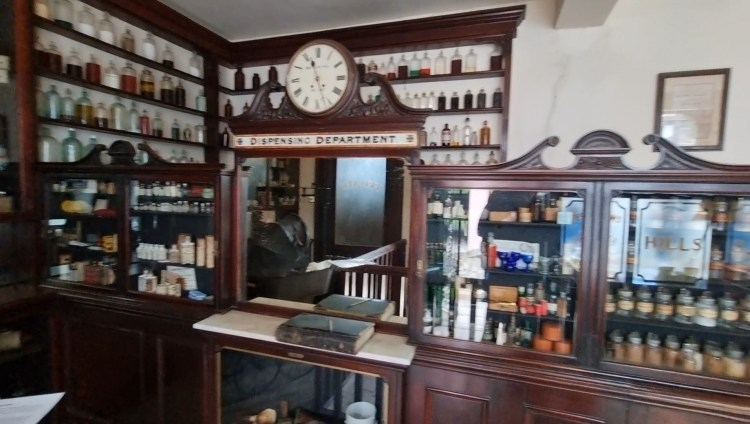 Inside the old chemist from the Ulster American Folk museum in northern ireland