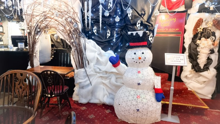 The Christmas decorations at the Hanging Gate pub in chapel-en-le-firth. A snowman greets you as you walk through the door.