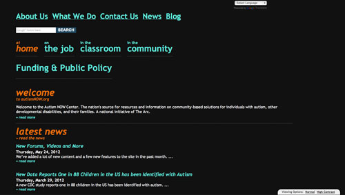 A screenshot showing the high contrast version of the Autism NOW Center website