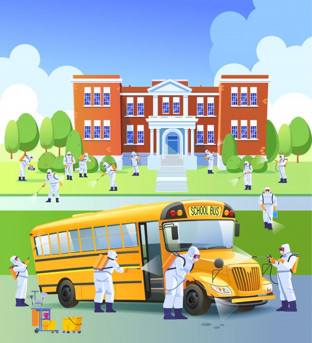 school-closed-quarantine-workers-sprays-disinfectant-as-part-preventive-measures-against-spread-covid-19-novel-coronavirus-school-school-bus-cartoon-illustrat