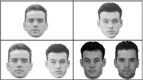 Ejemplos de dos pruebas. En la izquierda, una de las imágenes de abajo es la misma que la de arriba. En la derecha, la persona de la parte inferior izquierda es la misma que la de arriba pero en una foto diferente.