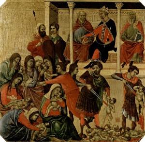 Obra pictórica de Duccio di Buoninsegna representando la matanza de niños ordenada por Herodes