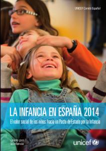 Portada del informe LA INFANCIA EN ESPAÑA 2014 de Unicef