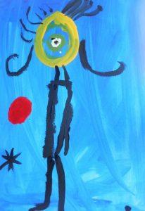 """Obra: """"Muñeca"""". Basada en la obra de Miró Mujer ante el sol"""