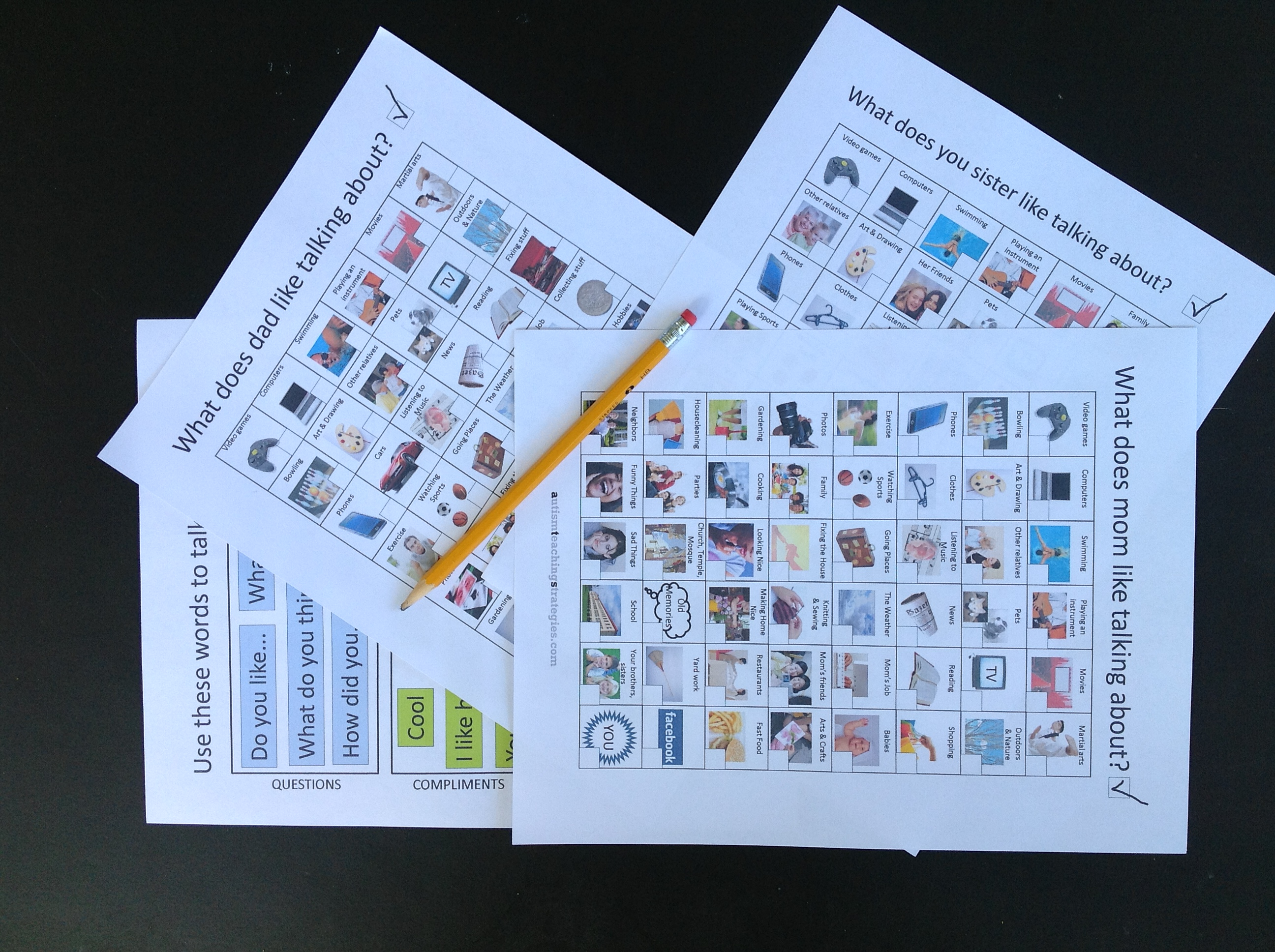 Talk To Dad Conversation Starter Worksheets For Kids With Asperger S And Other Autism Disorders
