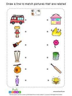 Free Picture Matching Worksheet - Match Associated Pictures-1