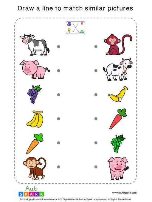Matching Pictures Free Worksheet #03 – Match Similar Images