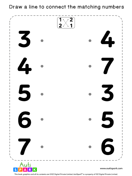Match The Numbers Worksheet - Free Matching #07