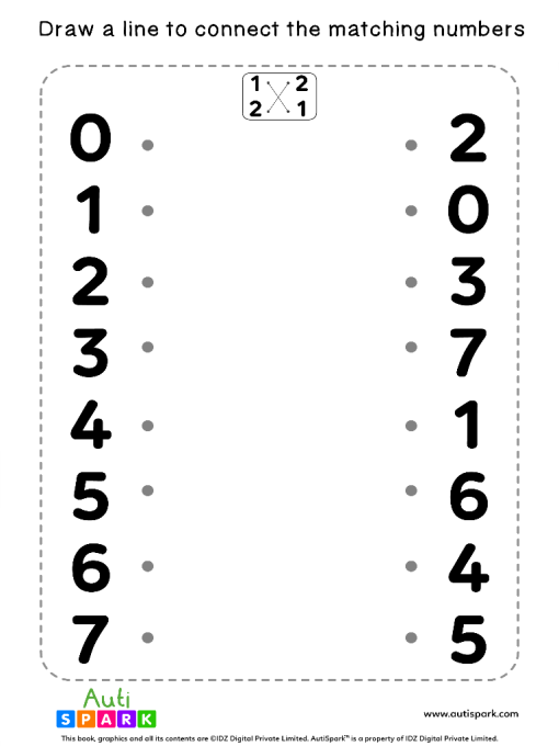 Match The Numbers Worksheet - Free Matching #08