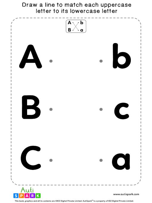 Match Uppercase To Lowercase Letters #01 - Matching Worksheet
