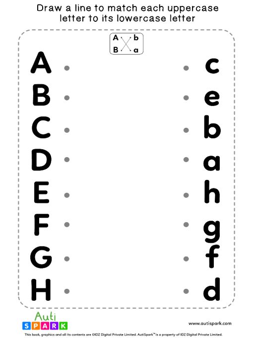 Match Uppercase To Lowercase Letters #08 - Matching Worksheet