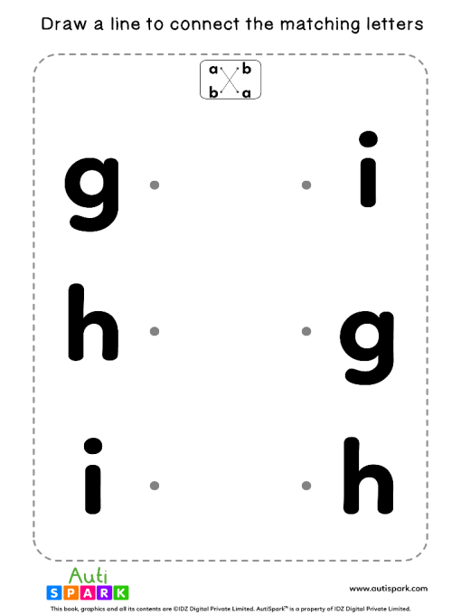 Match Lowercase Letters #03 - Free Matching Worksheet